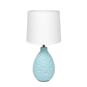 Simple Designs Textured Stucco Ceramic Oval Table Lamp - Blue and White - 14.17-in