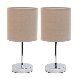 Mini lampes de table Simple Designs de base chromée avec abat-jour en tissu gris, ens. de 2