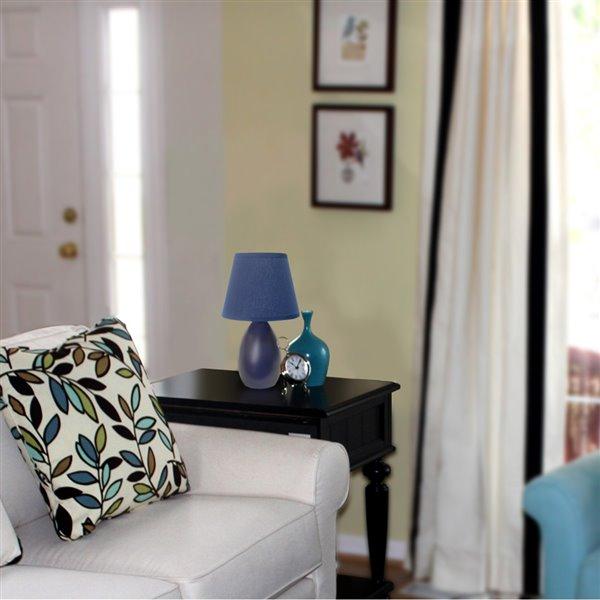 Simple Designs Mini Egg Oval Ceramic Table Lamp - Blue - 9.45-in