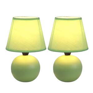 Lampes de table Simple Designs avec mini globe en céramique verte, ens. de 2
