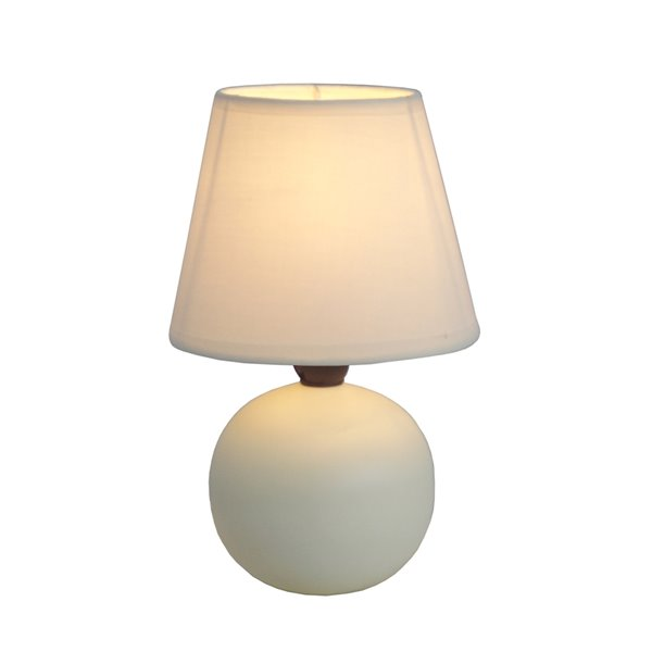 Simple Designs Mini Ceramic Globe Table Lamp - Off-White - 8.66-in