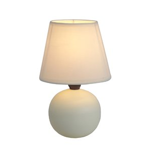Simple Designs Mini Ceramic Globe Table Lamp - Off-White - 8.66-in