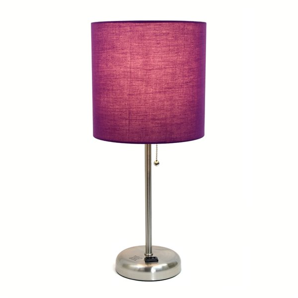 LimeLights Stick Lamp with Charging Outlet and Fabric Shade - Brushed Steel and Purple - 19.5-in