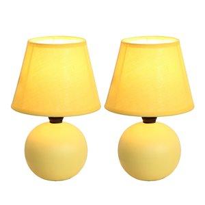 Lampes de table Simple Designs mini globe en céramique jaune, ens. de 2