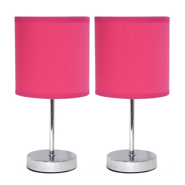 Simple Designs Chrome Mini Basic Table Lamp with Fabric Shade - Pink and Chrome - Set of 2