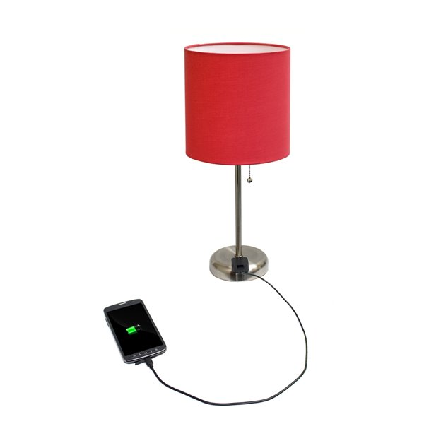 LimeLights Stick Lamp with Charging Outlet and Fabric Shade - Brushed Steel and Red - 19.5-in