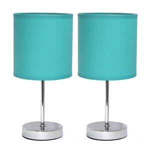 Mini lampes de table Simple Designs de base chromée avec abat-jour en tissu bleu, ens. de 2