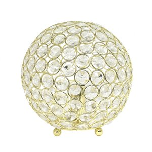 Elegant Designs Elipse 8 Inch Crystal Ball Sequin Table Lamp - Gold - 8-in