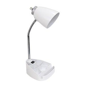 Lampe de bureau LimeLights avec prise de chargement, blanche, 18,5 po