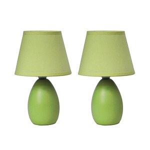 Lampes de table Simple Designs en céramique mini forme ovale verte, ens. de 2