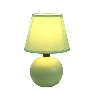 Simple Designs Mini Ceramic Globe Table Lamp - Green - 8.66-in
