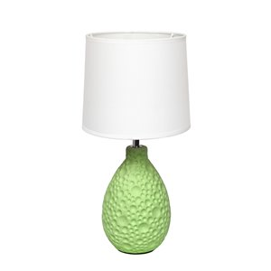 Simple Designs Textured  Stucco Ceramic Oval Table Lamp - Green and White - 14.17-in