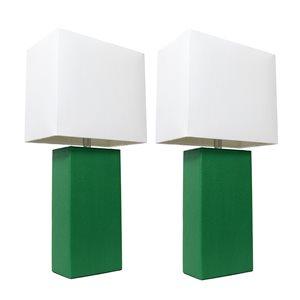Lampes de table Élégant Designs modernes en cuir avec abat-jour en tissu blanc, vert, ens. de 2