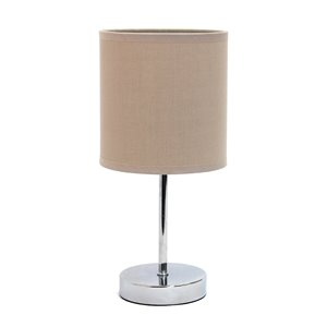 Simple Designs Chrome Mini Basic Table Lamp with Fabric Shade - Chrome and Grey - 11-in