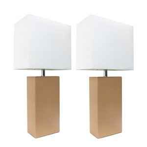Elegant Designs Modern Leather Table Lamps with White Fabric Shades and Beige  - Set of 2