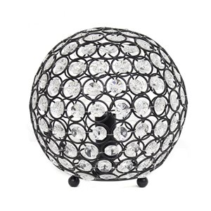 Elegant Designs Elipse 8 Inch Crystal Ball Sequin Table Lamp - Restoration Bronze - 8-in