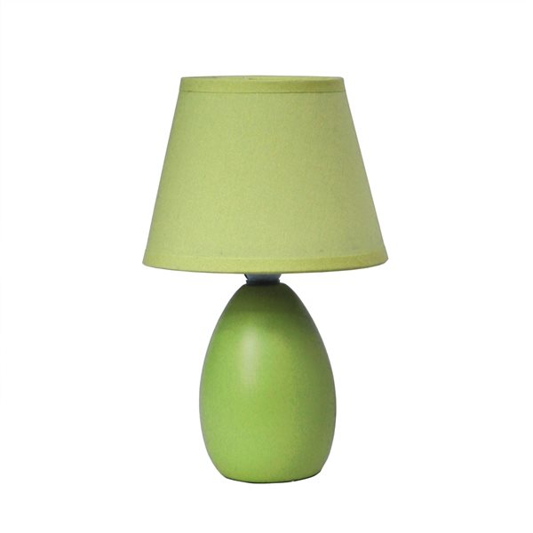 Simple Designs Mini Egg Oval Ceramic Table Lamp - Green - 9.45-in