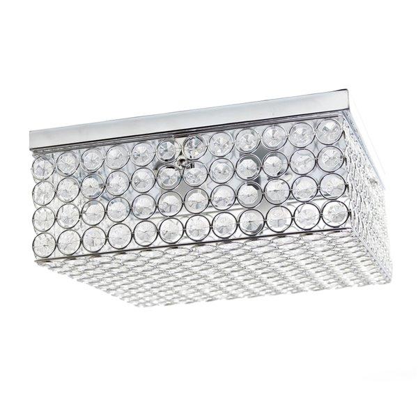 Plafonnier carré Élipse de Elegant Designs avec cristaux, 12 po