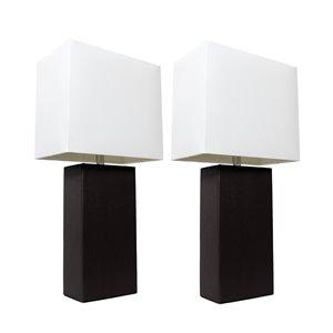 Lampes de table Élégant Designs modernes noir en cuir avec abat-jour en tissu blanc, ens. de 2