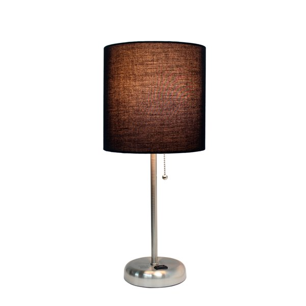 LimeLights Stick Lamp with Charging Outlet and Fabric Shade - Brushed Steel and Black - 19.5-in