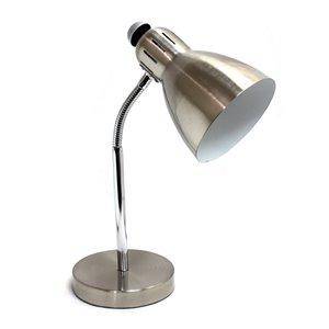 Lampe de bureau Simple Designs semi-flexible fini nickel brossé, 16,53 po