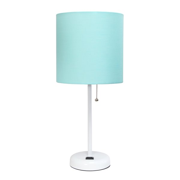 LimeLights White Stick Lamp with Charging Outlet and Fabric Shade - White and Aqua - 19.5-in