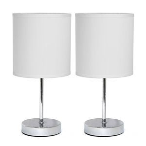 Simple Designs Chrome Mini Basic Table Lamp with Fabric Shade - White and Chrome - Set of 2