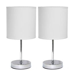 Mini lampes de table Simple Designs de base chromée avec abat-jour en tissu blanc, ens. de 2