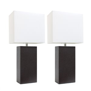 Elegant Designs Modern Leather Table Lamps with White Fabric Shades and Espresso Brown - Set of 2