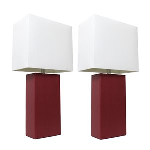 Elegant Designs Modern Leather Table Lamps with White Fabric Shades and Red - Set of 2