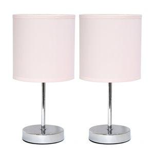Mini lampes de table Simple Designs de base chromée avec abat-jour en tissu rose, ens. de 2