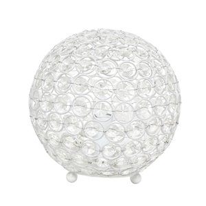 Elegant Designs Elipse 8 Inch Crystal Ball Sequin Table Lamp - White - 8-in