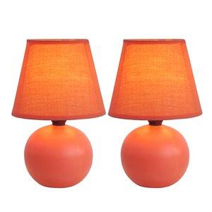 Lampes de table Simple Designs avec mini globe en céramique orange, ens. de 2
