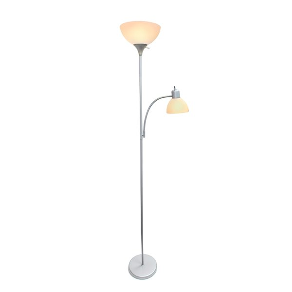 Simple Designs Floor Lamp With Reading Light 71 In Lf2000 Slv Rona