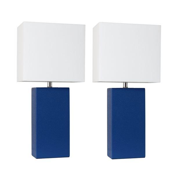 Lampes de table Élégant Designs modernes bleues en cuir avec abat-jour en tissu blanc, ens. de 2