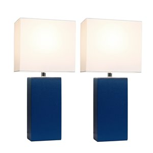 Elegant Designs Modern Leather Table Lamps with White Fabric Shades and Blue - Set of 2
