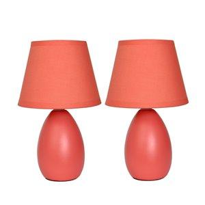 Lampes de table Simple Designs en céramique mini forme ovale orange, ens. de 2