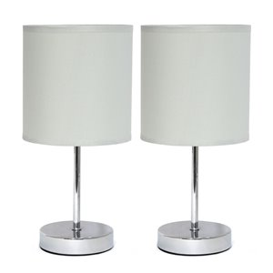 Simple Designs Chrome Mini Basic Table Lamp with Fabric Shade - Grey and Chrome - Set of 2