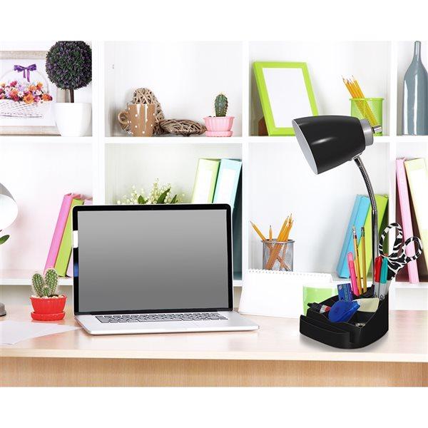 LimeLights Gooseneck Organizer Desk Lamp with Charging Outlet - 18.5-in