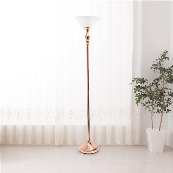 Lampe torchère Elegant Designs, abat-jour en verre blanc marbré et or rose, 71 po
