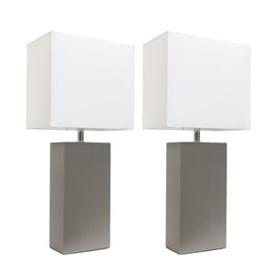 Elegant Designs Modern Leather Table Lamps with White Fabric Shades and Grey - Set of 2