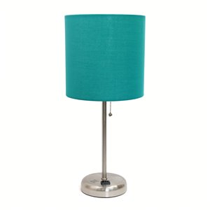 LimeLights Stick Lamp with Charging Outlet and Fabric Shade - Brushed Steel and Teal - 19.5-in