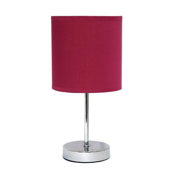 Simple Designs Chrome Mini Basic Table Lamp with Fabric Shade -  Chrome and Red Wine - 11-in