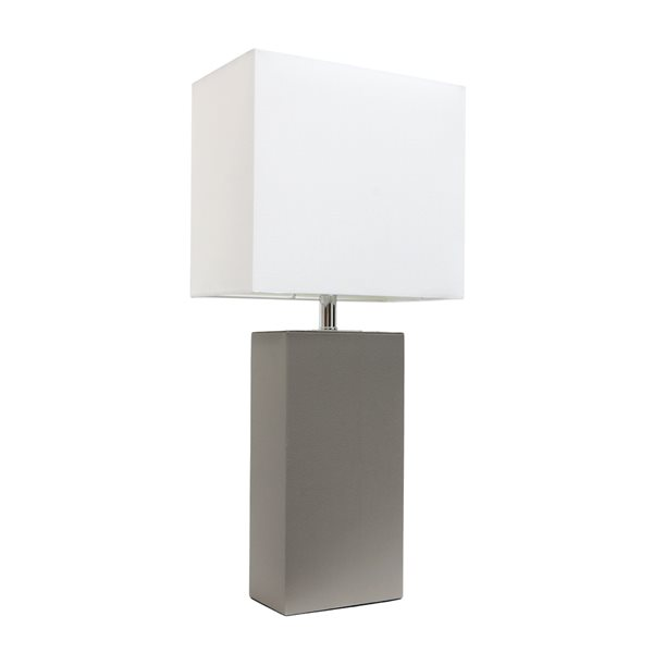 Elegant Designs Modern Leather Table Lamp with White Fabric Shade - Grey - 21-in