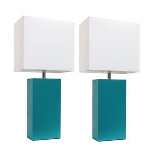 Elegant Designs Modern Leather Table Lamps with White Fabric Shades and Teal - Set of 2
