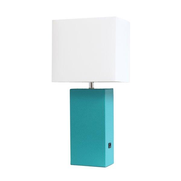 Lampe de table moderne Elegant Designs en cuir avec USB et abat-jour en tissu blanc, sarcelle, 21 po