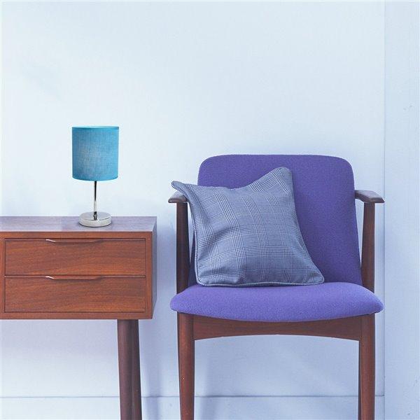 Mini lampe de table Simple Designs de base chromée avec abat-jour en tissu, bleu, 11 po