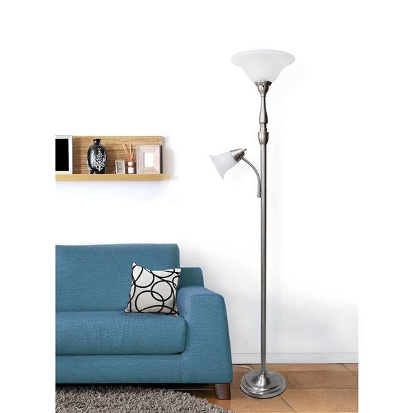 Lampe sur pied Elegant Designs à 2 lumières, verre en marbre blanc et nickel brossé, 71 po