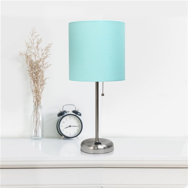 LimeLights Stick Lamp with Charging Outlet and Fabric Shade - Brushed Steel and Aqua - 19.5-in