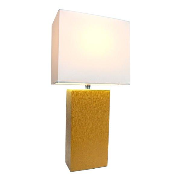 Lampe de table moderne de Elegant Designs en cuir avec abat-jour en tissu blanc, tan-brun, 21 po